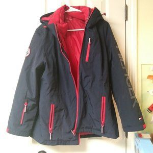 Tommy Hilfiger 3 in 1 Hooded Jacket Navy & Red New